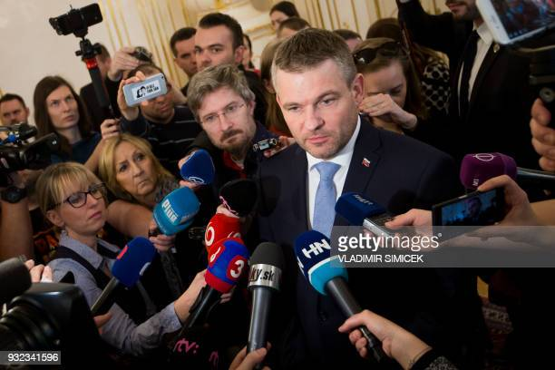 Slovak Deputy Prime Minister Peter Pellegrini answers journalists' questions following a meeting with the Slovak President in Bratislava on March 15...