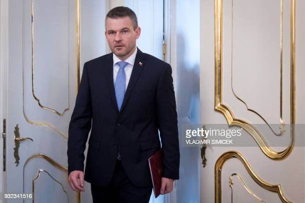 Slovak Deputy Prime Minister Peter Pellegrini arrives for a meeting with the Slovak President in Bratislava on March 15 2018 Slovakia's President...