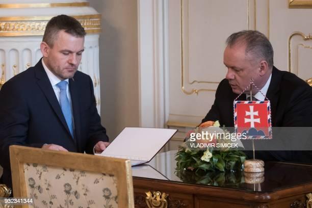 Slovak Deputy Prime Minister Peter Pellegrini meets with Slovak President Andrej Kiska in Bratislava on March 15 2018 Slovakia's President Kiska said...