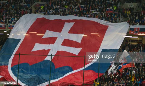Slovak fans during the National anthem before the Slovakia and Hungary European Qualifying match at Anton Malatinsky Arena on March 21 2019 in Trnava...