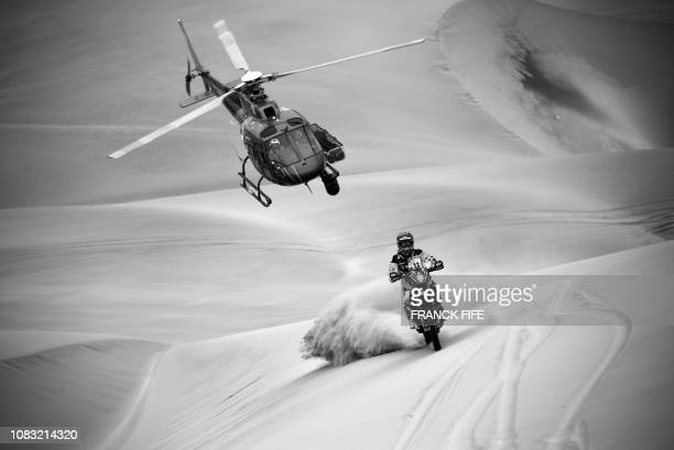 Slovak KTM rider Stefan Svitko competes during Stage 6 of the Dakar 2019 between Arequipa and San Juan de Marcona, Peru, on January 13, 2019.