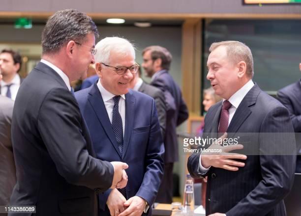 Slovak Minister of Foreign European Affairs Miroslav Lajcak is talking with the Polish Minister of Foreign Affairs Jacek Czaputowicz and the...