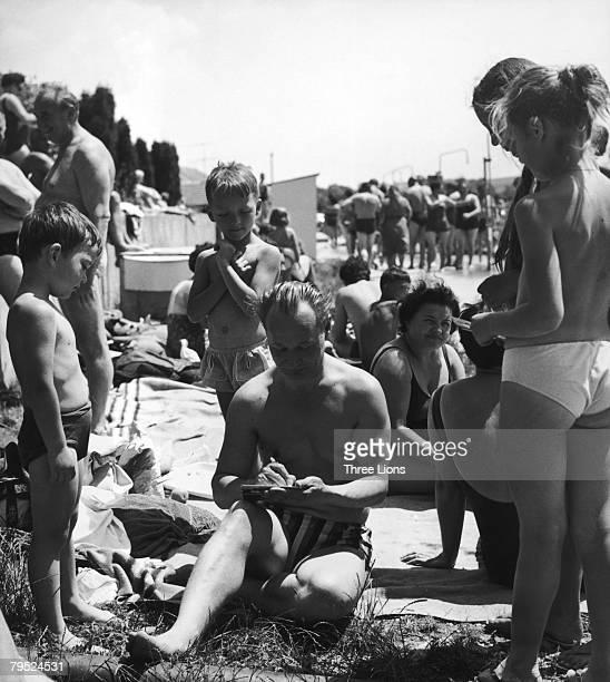 Slovak politician Alexander Dubcek enjoys a day out circa 1965