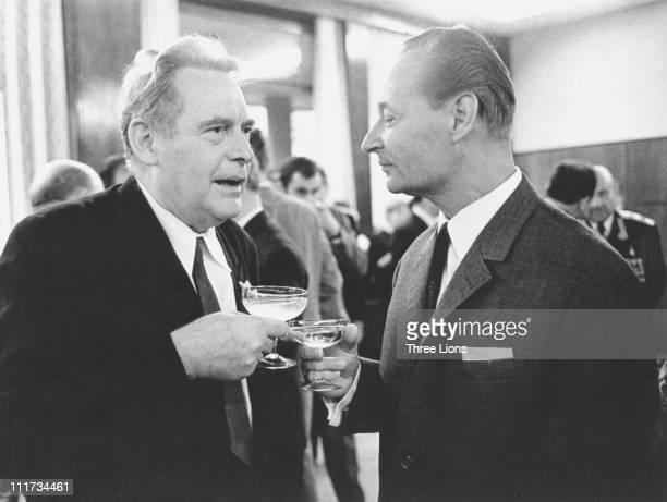 Slovak politician Alexander Dubcek with poet Ladislaw Novomesky in 1969