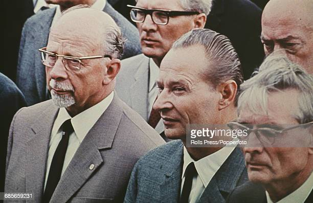 Slovak politician and First Secretary of the Communist Party of Czechoslovakia Alexander Dubcek pictured centre with Soviet politician and Second...