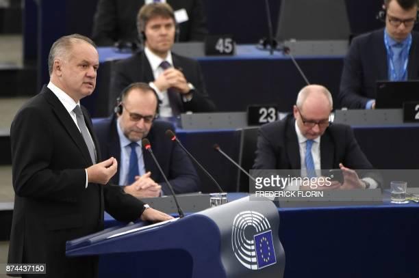 Slovak President Andrej Kiska adresses deputies at the European Parliament in Strasbourg eastern France on November 15 2017 / AFP PHOTO / FREDERICK...