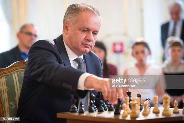 Slovak President Andrej Kiska plays chess with 10years old Lucia Kapicakova a winner of EU Youth Championship 2016 in U10 category on June 28 2017 in...