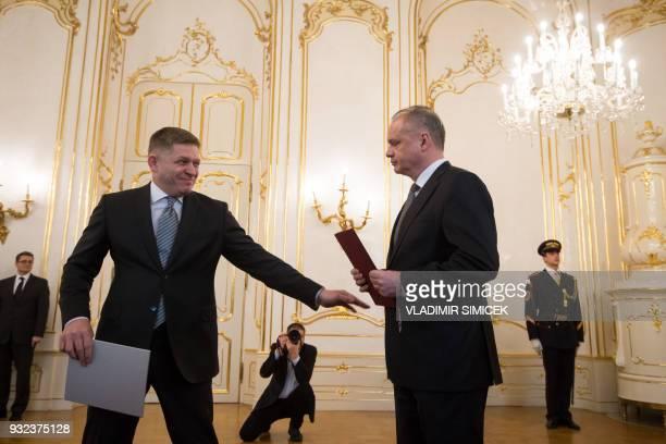 Slovak President Andrej Kiska receives a resignation letter from Slovak Prime Minister Robert Fico in Bratislava on March 15 2018 Slovakia's...