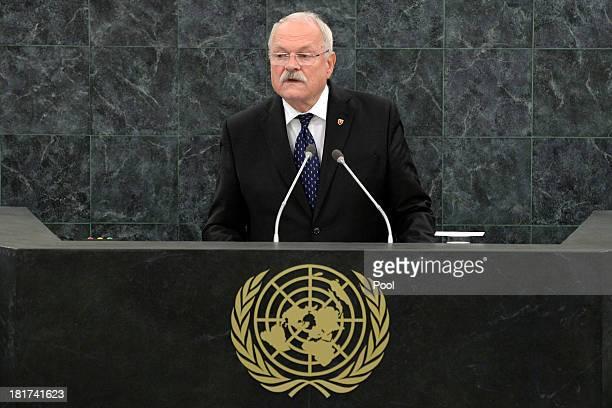 Slovak President Ivan Gasparovic addresses the 68th United Nations General Assembly on September 24 2013 in New York City Over 120 prime ministers...