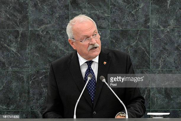 Slovak President Ivan Gasparovic addresses the 68th United Nations General Assembly on September 24, 2013 in New York City. Over 120 prime ministers,...