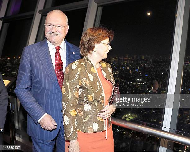 Slovak President Ivan Gasparovic and his wife Silvia visit the Tokyo Skytree on June 27, 2012 in Tokyo, Japan. Gasparovic is on five days tour to...