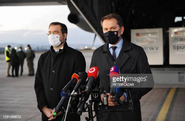 Slovak Prime Minister Igor Matovic and Slovak Health Minister Marek Krajci give a press statement at the International Airport in Kosice, Slovakia,...