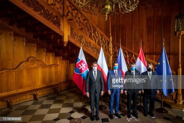 Slovak Prime Minister Igor Matovic Poland Prime Minister Mateusz Czech Prime Minister Andrej Babi and Hungarian Prime Minister Viktor Orban pose for...