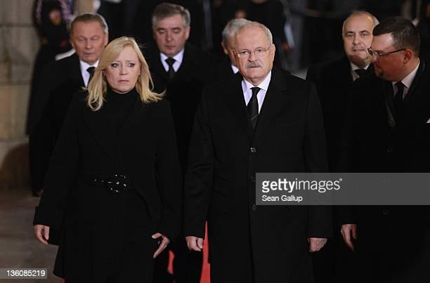 Slovak Prime Minister Iveta Radicova and Slovak President Ivan Gasparovic arrive the state funeral of former Czech President Vaclav Havel at St Vitus...