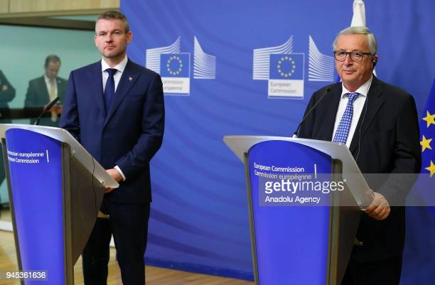 Slovak Prime Minister Peter Pellegrini and European Commission Chief JeanClaude Juncker hold a joint press conference following their meeting in...