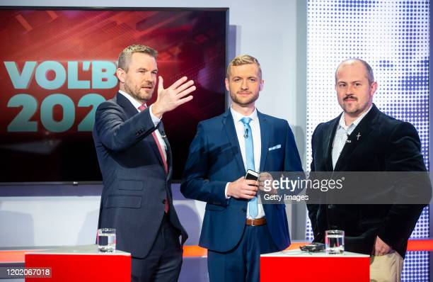 Slovak Prime Minister Peter Pellegrini and Marian Kotleba leader of the far-right People's Party Our Slovakia before the TV debate ahead of...