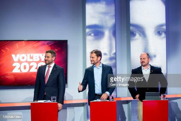Slovak Prime Minister Peter Pellegrini , Igor Matovic leader of the Ordinary People and Independent Personalities party,and Marian Kotleba leader of...