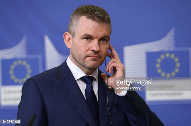 Slovak Prime Minister Peter Pellegrini is seen during a joint press conference with European Commission Chief JeanClaude Juncker following their...