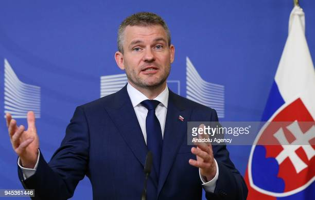Slovak Prime Minister Peter Pellegrini makes a speech during a joint press conference with European Commission Chief JeanClaude Juncker following...