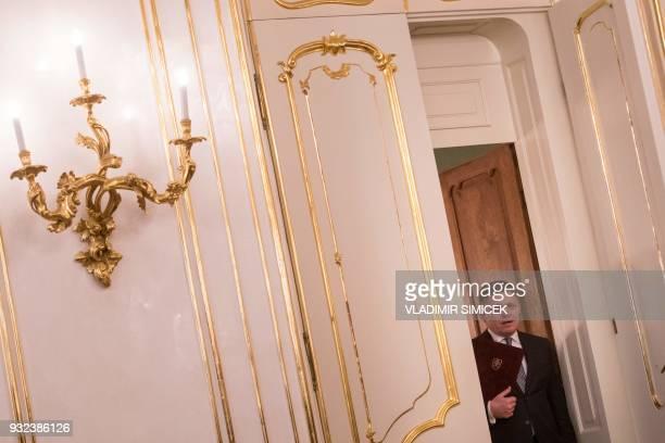 Slovak Prime Minister Robert Fico arrives to hand in his letter of resignation to Slovak President Andrej Kiska in Bratislava on March 15 2018...