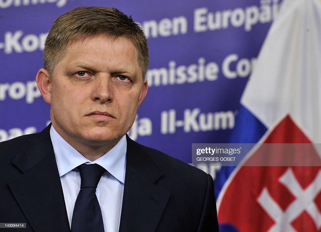 Slovak Prime Minister Robert Fico looks : News Photo