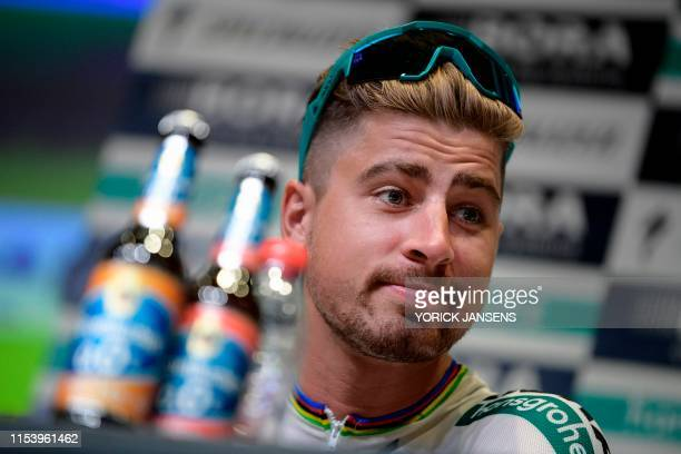 Slovak rider Peter Sagan looks on during a press conference of Germany's Bora-Hansgrohe cycling team in Brussels on July 5 on the eve of the start of...