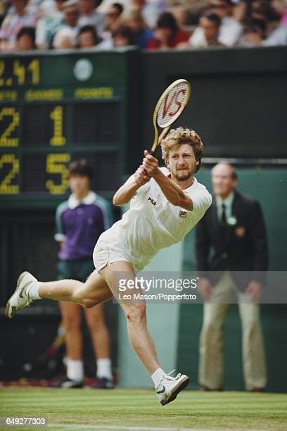 Slovak tennis player Miloslav Mecir pictured in action competing to be knocked out in the first round of the Men's Singles tournament at the...