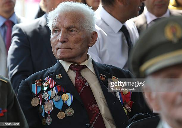 Slovak WWII veteran attends the 69th anniversary celebrations of the Slovak National Uprising on August 29 2013 in Banska Bystrica Slovakia Romanian...