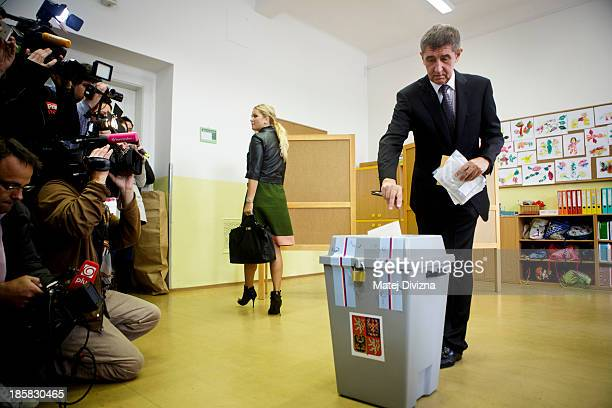 Slovakborn billionaire and leader of ANO movement Andrej Babis casts his ballot during the first day of the Czech early election on October 25 2013...
