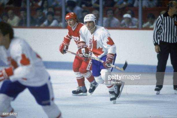 Slovakborn professional hockey player Peter Stastny of Team Canada skates on the ice during a game with Team USSR at the 1984 Canada Cup Canada 1984