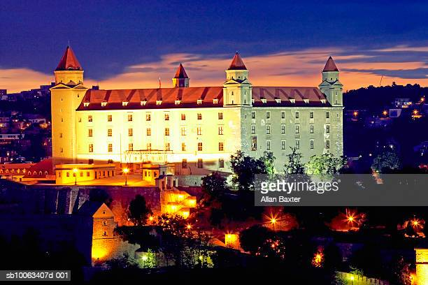 Slovakia, Bratislava, Bratislava castle at sunset