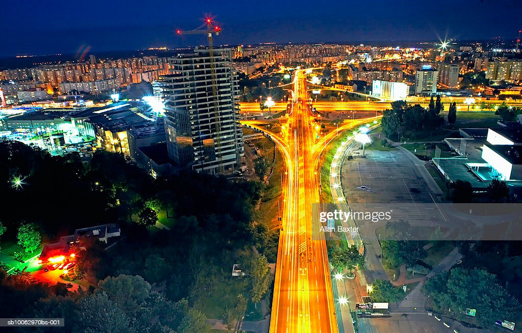 Slovakia, Bratislava, city traffic at night, elevated view (long exposure) : Stock Photo