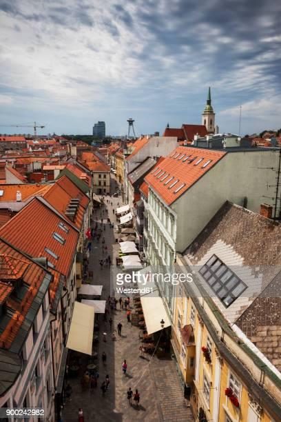 Slovakia, Bratislava, Old Town, view over historic houses and Michalska Street