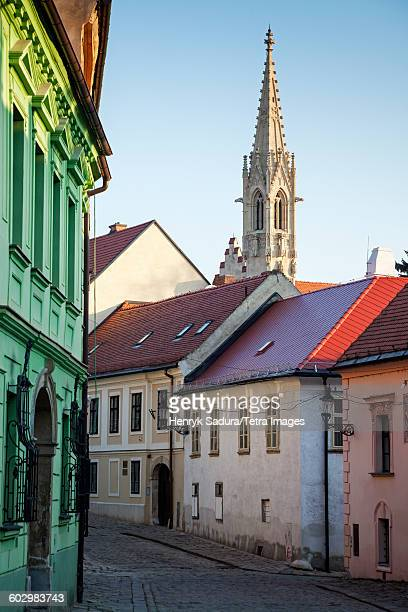 Slovakia, Bratislava, Townhouses with church tower in background