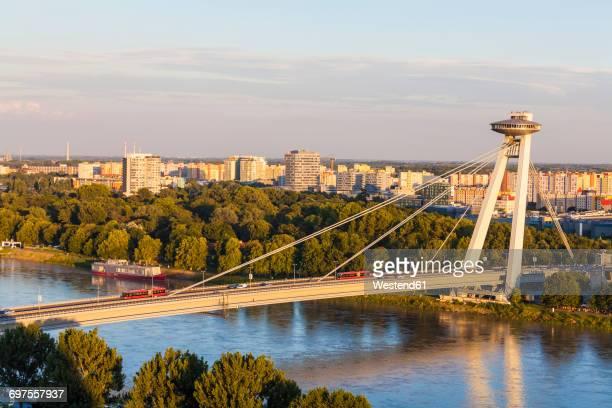 Slovakia, Bratislava, view Novy Most at sunset