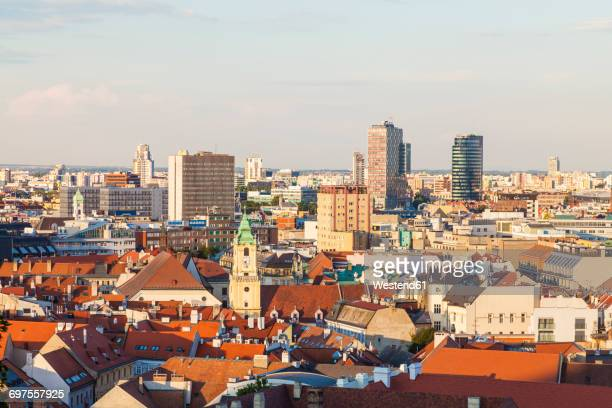 slovakia, bratislava, view to city center from above - bratislava stock pictures, royalty-free photos & images