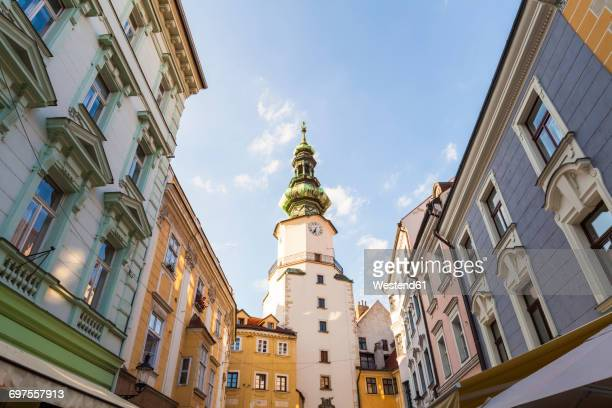 slovakia, bratislava, view to michael's gate at the old town - bratislava stock pictures, royalty-free photos & images