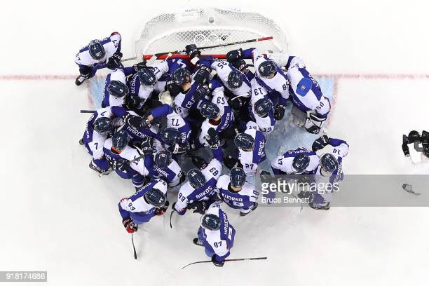 Slovakia celebrate after defeating Olympic Athletes from Russia 32 during the Men's Ice Hockey Preliminary Round Group B game on day five of the...