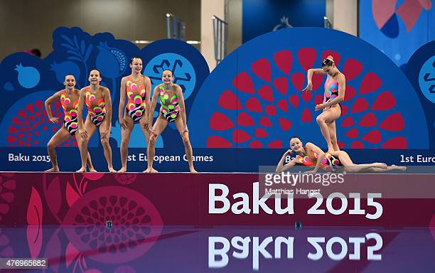 Slovakia compete in the Synchronised Swimming Free Combination quailification during day one of the Baku 2015 European Games at Baku Aquatics Centre...