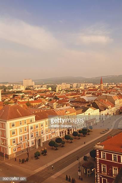 slovakia, eastern slovakia, kosice, namestie slobody, skyline, dawn - kosice stock pictures, royalty-free photos & images
