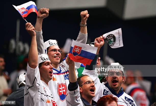 Slovakia fans celebrate after defeating Switzerland in the IIHF World Men's Championships group E qualifying game at Wiener Stadthalle on May 8 2005...