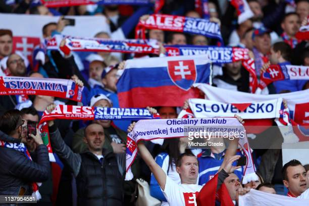 Slovakia fans sing the national anthem prior to the 2020 UEFA European Championships group E qualifying match between Wales and Slovakia at Cardiff...