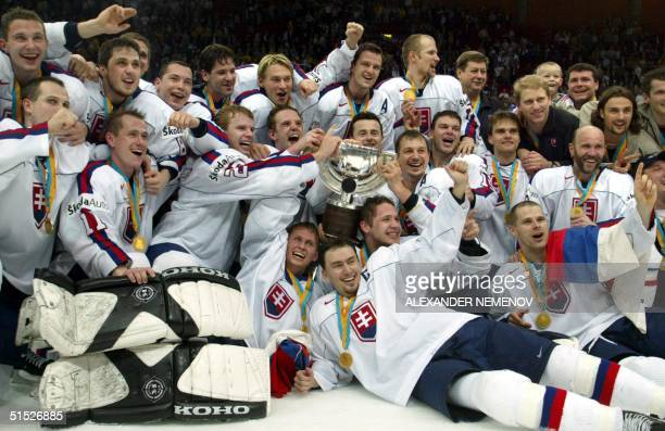 Slovakia jubilate after defeating Russia 32 in the final match of Ice Hockey World Championship in Gothenburg 11 May 2002