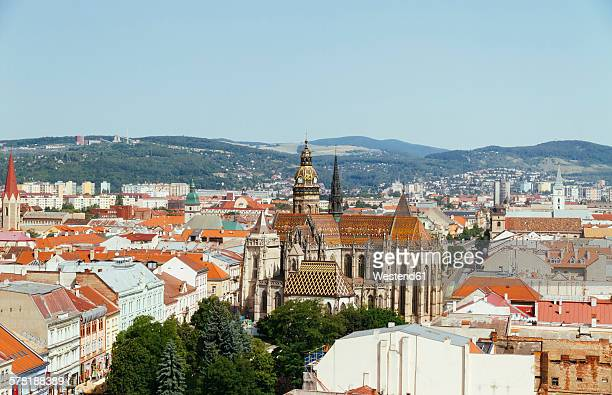 slovakia, kosice, cityscape with st. elisabeth cathedral - kosice stock photos and pictures