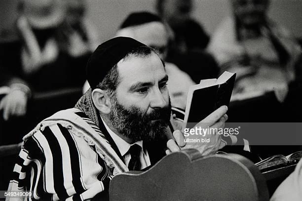 Slovakia Kosice jews in the Synagogue on Sabbath reading