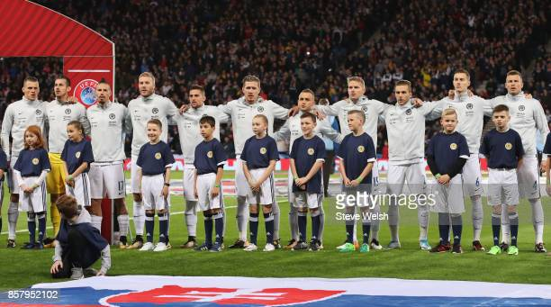 Slovakia line up prior to the FIFA 2018 World Cup Group F Qualifier between Scotland and Slovakia at Hampden Park on October 5 2017 in Glasgow...