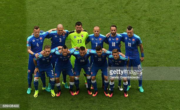 Slovakia players line up for team photos prior to the UEFA EURO 2016 Group B match between Wales and Slovakia at Stade Matmut Atlantique on June 11...