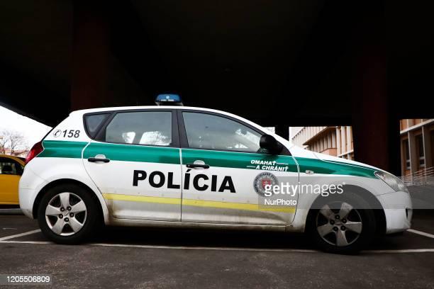 Slovakia police car is seen in Trnava, Slovakia, on 29th February, 2020.