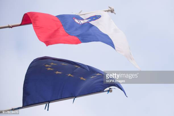 Slovakian and European Union flag seen in Bratislava Bratislava is the capital city of Slovakia it has a population of just over 420000 in late 2017