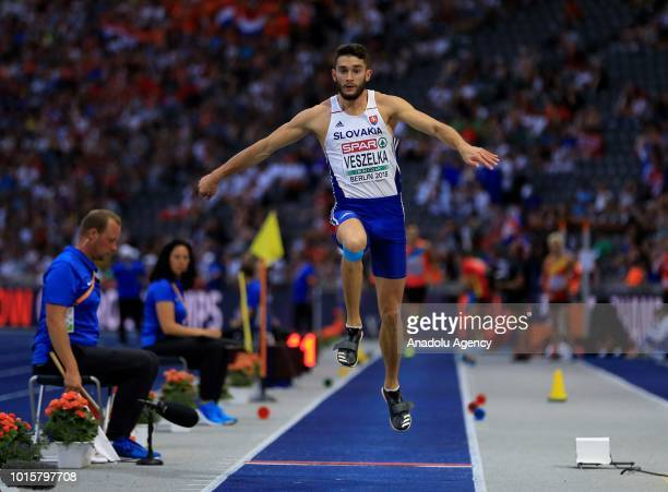 Slovakian athlete Tomas Veszelka competes in triple jump final during the 2018 European Athletics Championships in Berlin Germany on August 12 2018